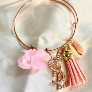 Custom Rose Gold Charm Bangle